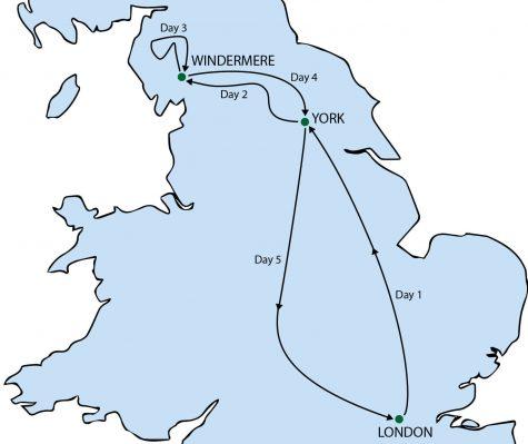 York & the Lake District Tour Map