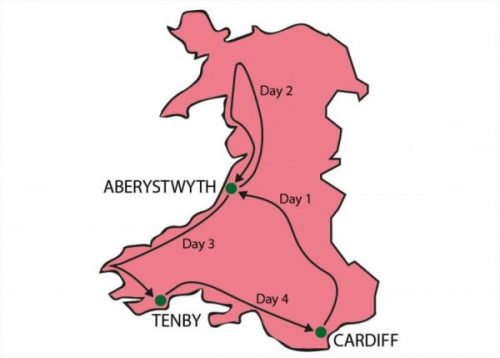 Wales Tour From Cardiff Map