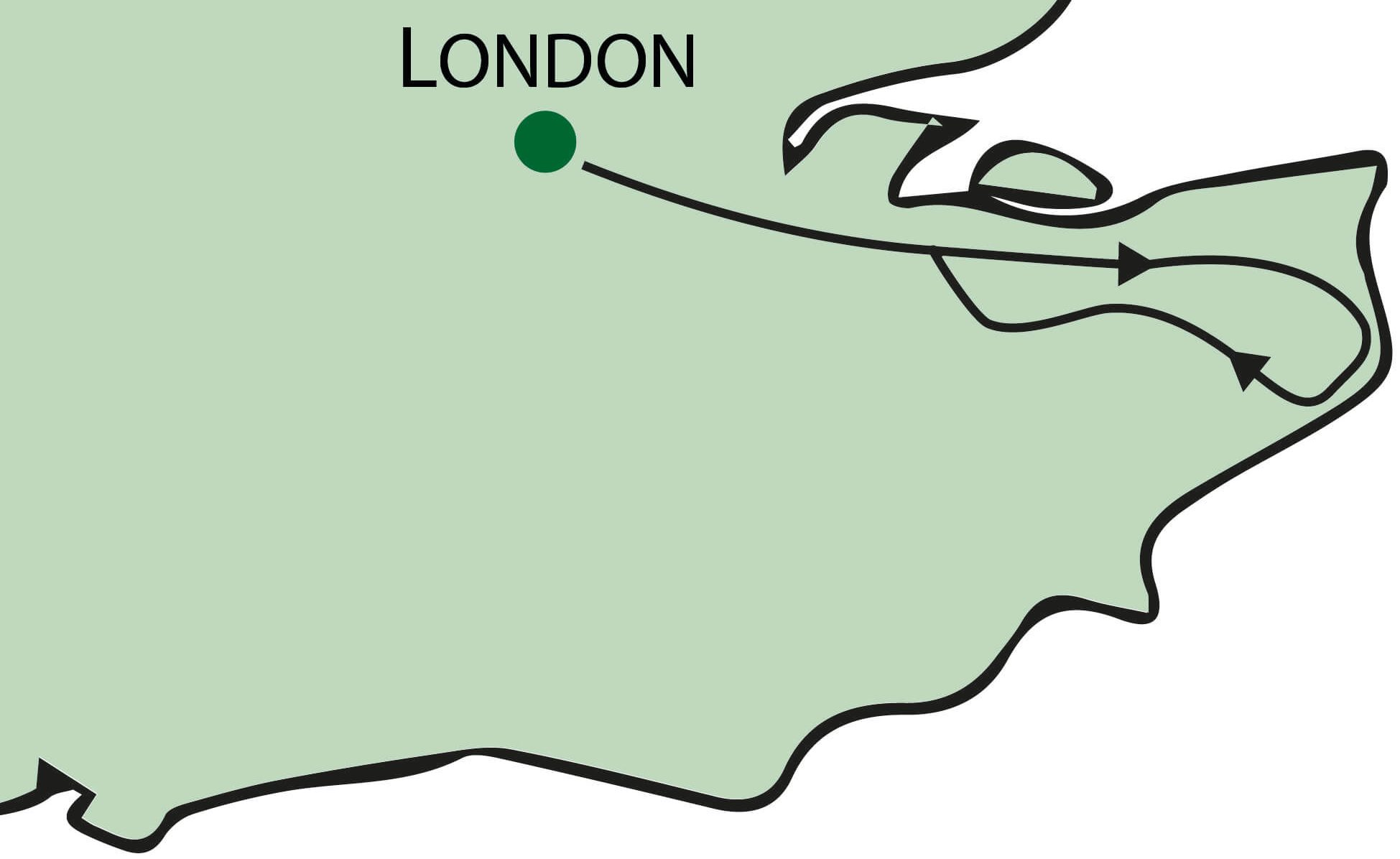 A Day In Kent Tour from London Map