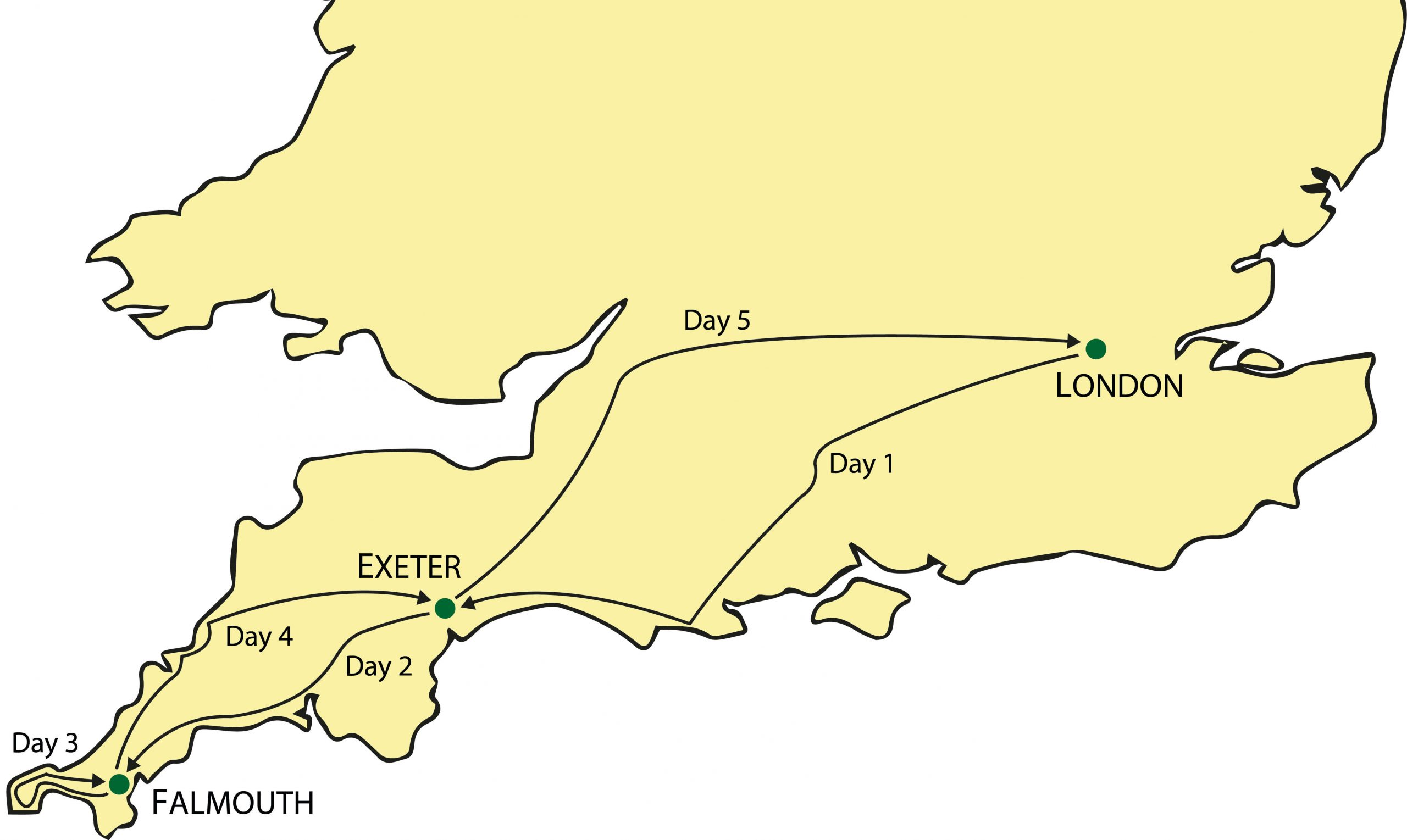 Cornwall & the Cotswolds Tour Map