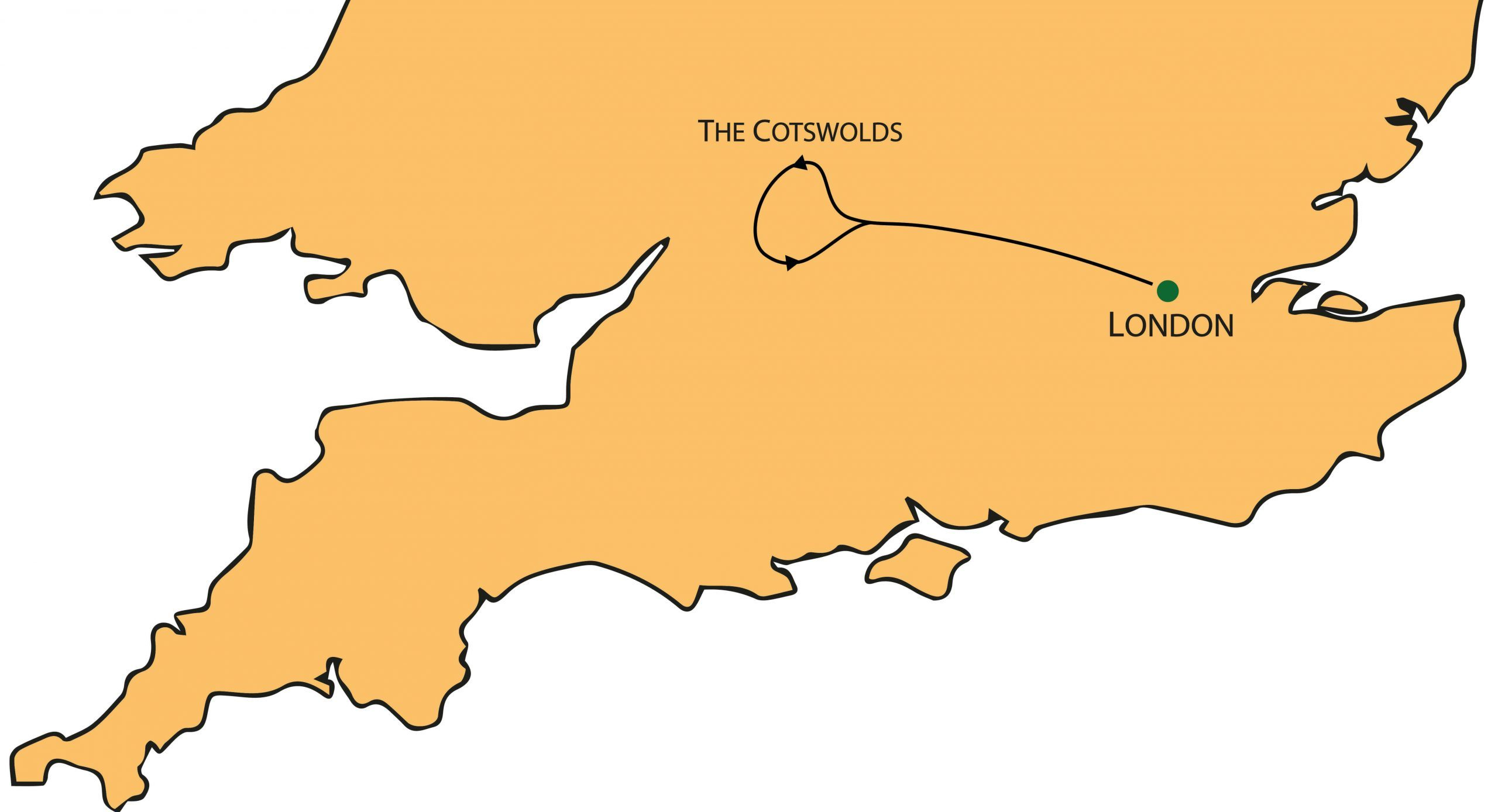 Complete Cotswolds Tour from London Map