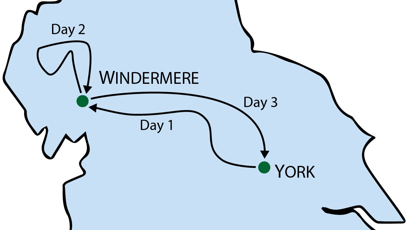 Lake District Tour from York Map