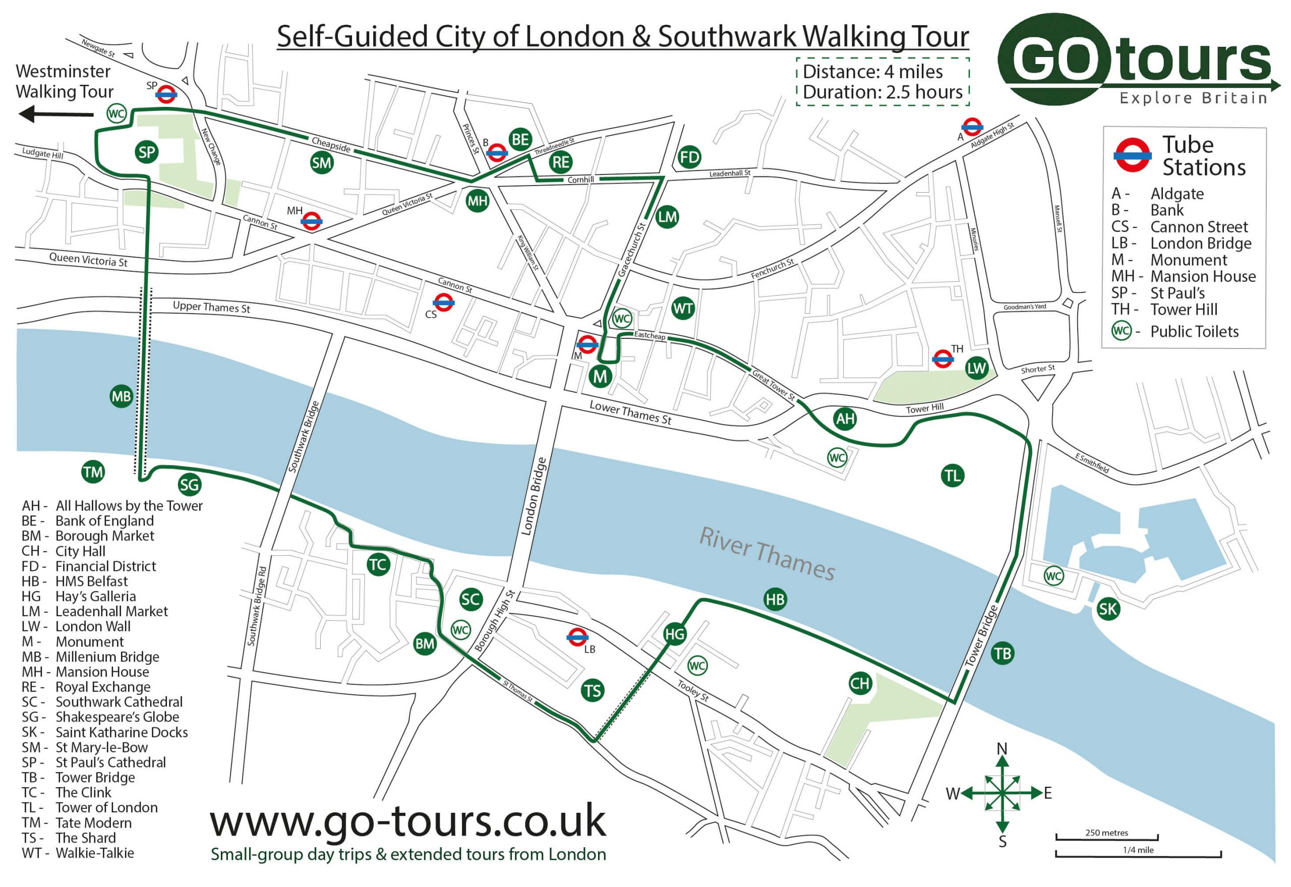 City & Southwark Walking Tour Map