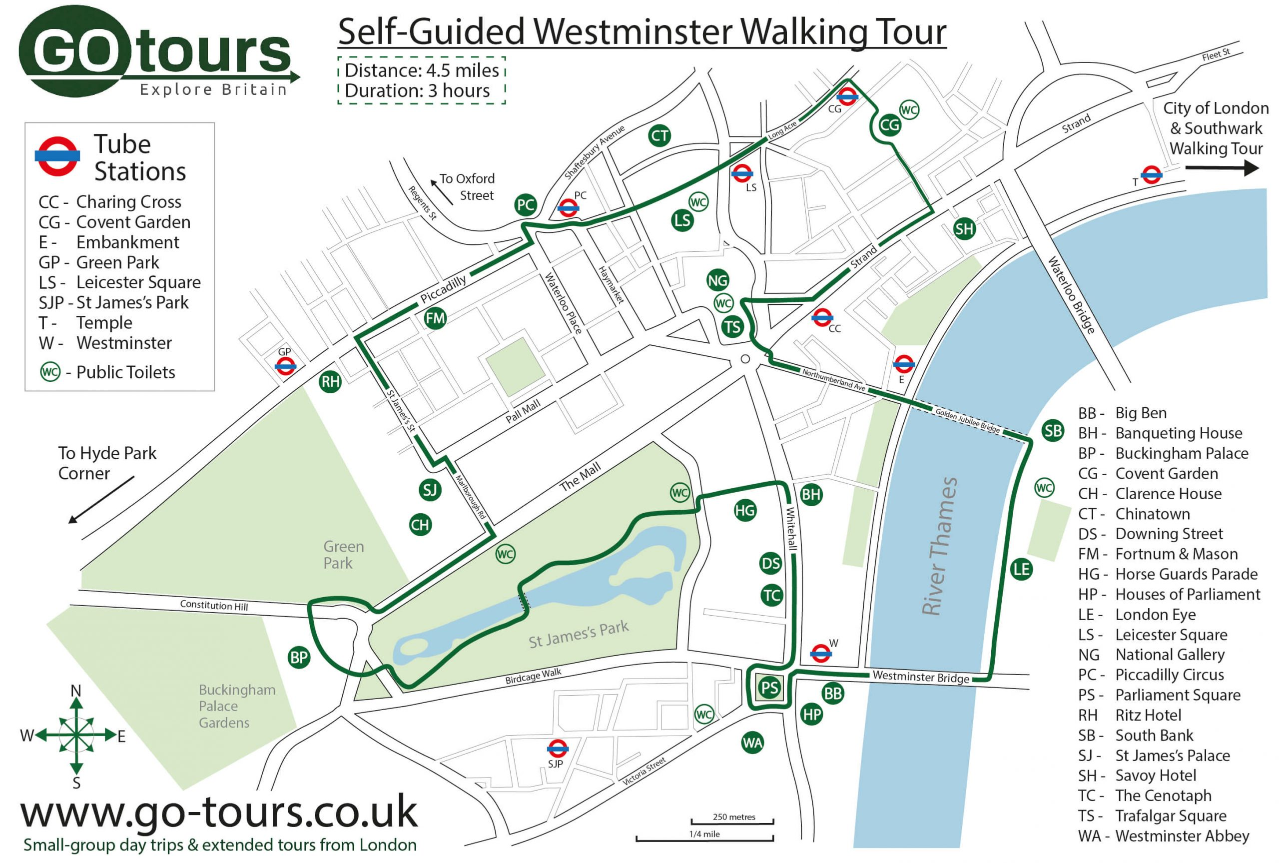 Westminster Walking Tour Map
